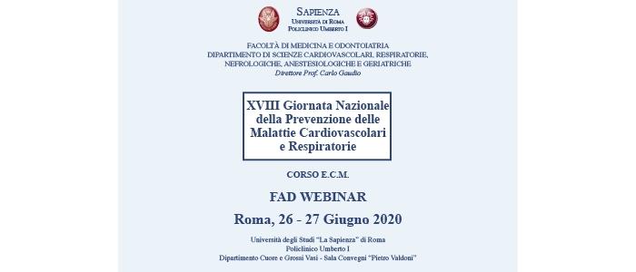 XVIII Giornata Nazionale della Prevenzione delle Malattie Cardiovascolari e Respiratorie