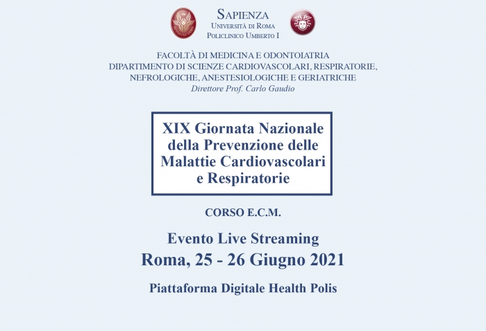 XIX Giornata Nazionale della Prevenzione delle Malattie Cardiovascolari e Respiratorie